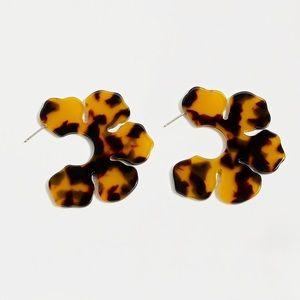 Acetate Flower Hoops in Tortoise NWT OS Tortoise